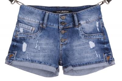 Женские джинсовые синие шорты с потертостями (Арт. W SH 3609)