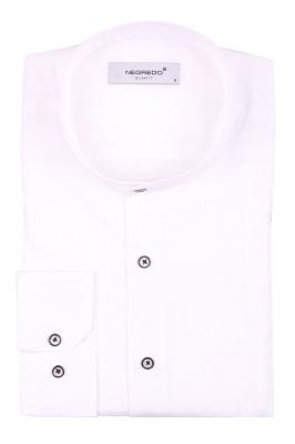 Cтильная мужская однотонная белая рубашка с воротником стойка, длинный рукав  (Арт. T 3612)