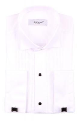 Cтильная мужская однотонная белая рубашка, длинный рукав  (Арт. T 3613)