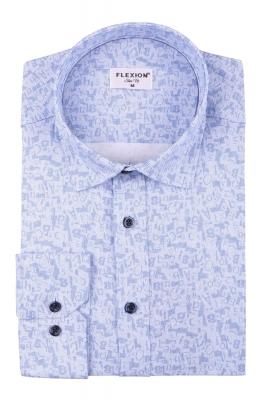 Cтильная мужская рубашка в рисунок, длинный рукав  (Арт. T 3659)