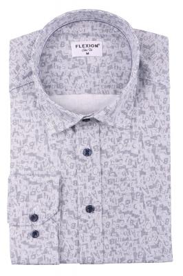 Cтильная мужская рубашка в рисунок, длинный рукав  (Арт. T 3661)