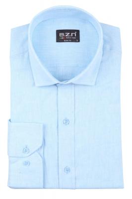 Cтильная мужская однотонная рубашка, длинный рукав  (Арт. T 3690)