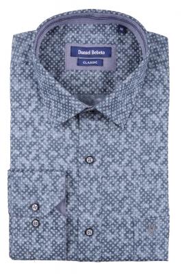 Cтильная мужская рубашка в рисунок, длинный рукав  (Арт. T 3694)