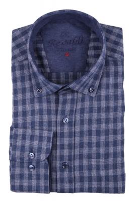 Классическая кашемировая рубашка в клетку, длинный рукав  (Арт. T 3734 B)