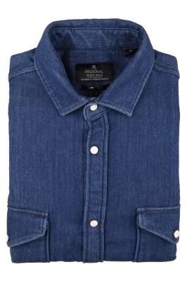 Джинсовая мужская рубашка, длинный рукав  (Арт. T 3835)
