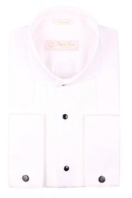 Cтильная мужская рубашка белого цвета, длинный рукав  (Арт. T 3967)