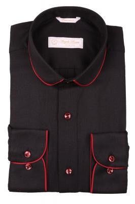 Cтильная мужская рубашка с окантовкой по воротнику, длинный рукав  (Арт. T 3973)