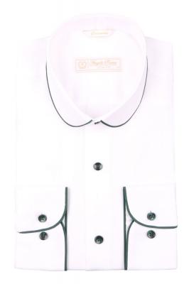 Cтильная мужская рубашка с окантовкой по воротнику, длинный рукав  (Арт. T 3974)