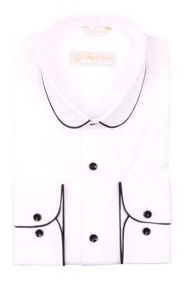 Cтильная мужская рубашка с окантовкой по воротнику, длинный рукав  (Арт. T 3975)
