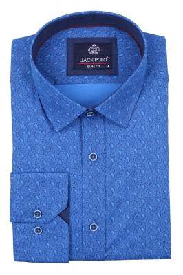 Cтильная мужская рубашка в мелкий рисунок, длинный рукав  (Арт. T 4022)
