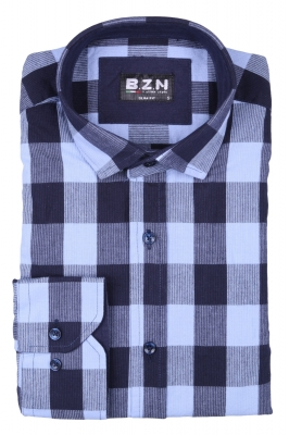 Стильная мужская рубашка в клетку, длинный рукав  (Арт. T 4041)