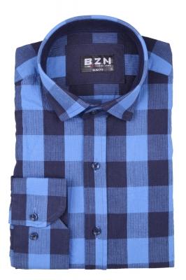 Стильная мужская рубашка в клетку, длинный рукав  (Арт. T 4042)