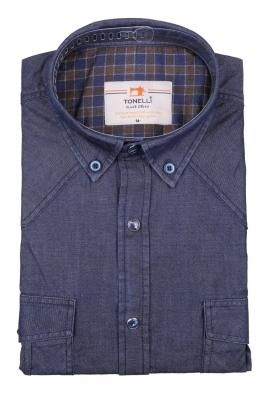 Джинсовая мужская рубашка, длинный рукав-трансформер  (Арт. T 4056)