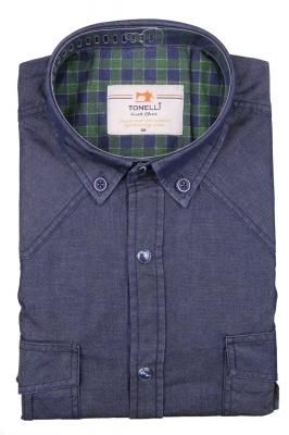 Джинсовая мужская рубашка, длинный рукав-трансформер  (Арт. T 4057)