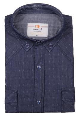 Джинсовая мужская рубашка, длинный рукав-трансформер  (Арт. T 4059)