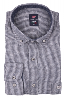 Классическая кашемировая мужская рубашка в полоску, длинный рукав (Арт. T 4001)
