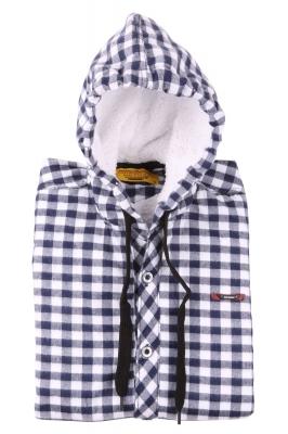 Детская рубашка в клетку утеплённая с капюшоном, длинный рукав (Арт. TB 4156)