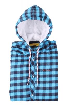 Детская рубашка в клетку утеплённая с капюшоном, длинный рукав (Арт. TB 4159)