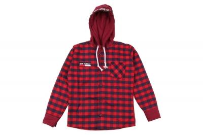 Детская рубашка в клетку с капюшоном, длинный рукав (Арт. TB 4215)