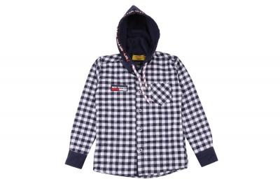 Детская рубашка в клетку с капюшоном, длинный рукав (Арт. TB 4216)