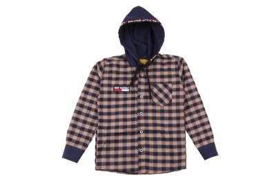 Детская рубашка в клетку с капюшоном, длинный рукав (Арт. TB 4218)