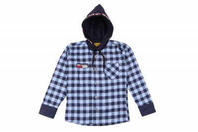 Детская рубашка в клетку с капюшоном, длинный рукав (Арт. TB 4219)