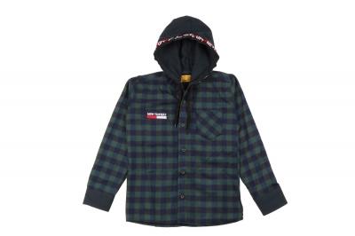Детская рубашка в клетку с капюшоном, длинный рукав (Арт. TB 4220)