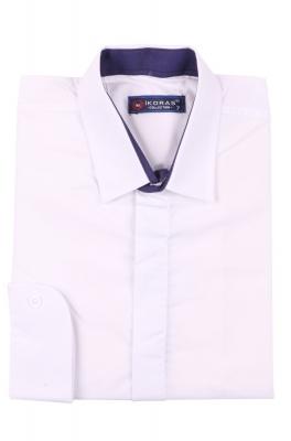 Детская однотонная белая рубашка, длинный рукав (Арт. TB 4250)