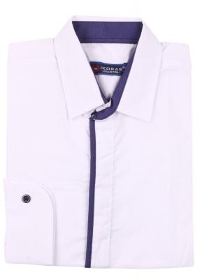 Детская однотонная белая рубашка с окантовкой по планке, длинный рукав (Арт. TB 4251)