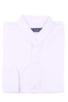 Детская однотонная белая рубашка с воротником стойка, длинный рукав (Арт. TB 4252)