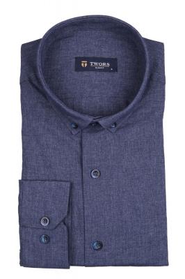 Стильная мужская однотонная рубашка, длинный рукав (Арт. T 4136)