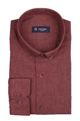 Стильная мужская однотонная рубашка, длинный рукав (Арт. T 4137)