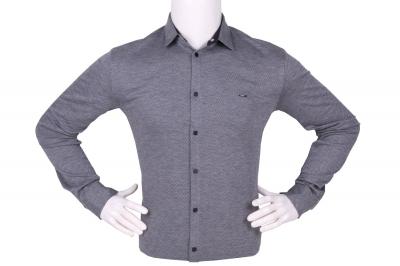 Стильная мужская однотонная рубашка, длинный рукав (Арт. T 4266)