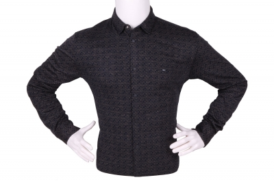 Стильная мужская рубашка в мелкий рисунок, длинный рукав (Арт. T 4271)