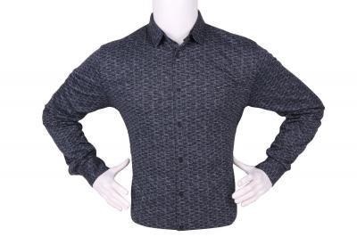 Стильная мужская рубашка в мелкий рисунок, длинный рукав (Арт. T 4276)