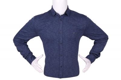Стильная мужская рубашка в мелкий рисунок, длинный рукав (Арт. T 4279)