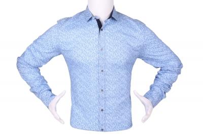 Стильная мужская рубашка в мелкий рисунок, длинный рукав (Арт. T 4286)