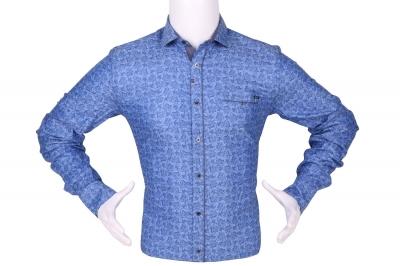 Стильная мужская рубашка в мелкий рисунок, длинный рукав (Арт. T 4287)