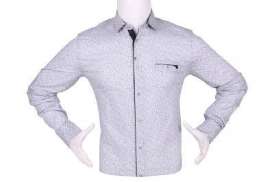 Стильная мужская рубашка в мелкий узор, длинный рукав (Арт. T 4291)