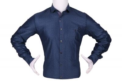 Стильная мужская рубашка в мелкий узор, длинный рукав (Арт. T 4296)