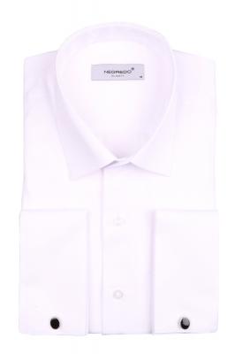 Мужская однотонная рубашка в мелкий рисунок, длинный рукав (Арт. T 4098)