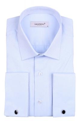 Мужская однотонная рубашка в мелкий рисунок, длинный рукав (Арт. T 4099)