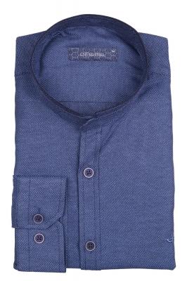 Стильная однотонная мужская рубашка с воротником стойка, длинный рукав (Арт. T 4112)