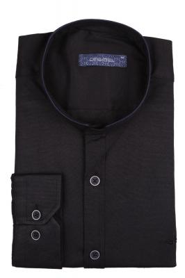 Стильная однотонная мужская рубашка с воротником стойка, длинный рукав (Арт. T 4113)