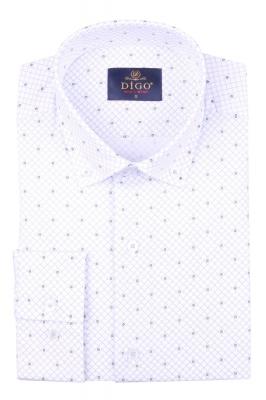 Стильная мужская рубашка в мелкий рисунок, длинный рукав (Арт. T 4375)