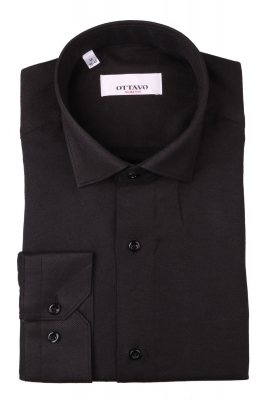 Однотонная мужская рубашка чёрного цвета, длинный рукав (Арт. T 4380)