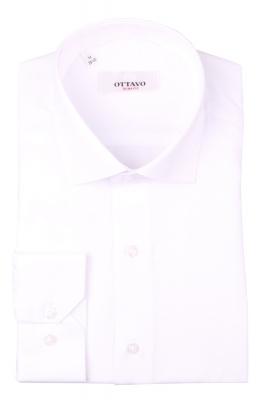 Однотонная мужская рубашка белого цвета, длинный рукав (Арт. T 4381)