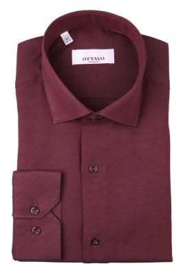 Однотонная мужская рубашка бордового цвета, длинный рукав (Арт. T 4382)