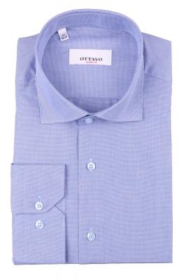 Стильная мужская рубашка в мелкую клетку, длинный рукав (Арт. T 4383)