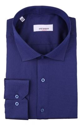 Стильная мужская однотонная рубашка синего цвета, длинный рукав (Арт. T 4387)